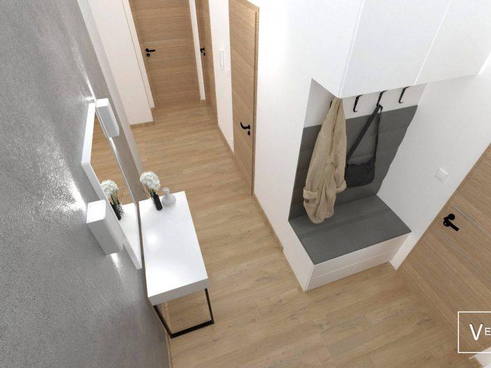 Przytulne i stylowe wnętrze, w kompozycji drewna i szarości, zaakcentowanych czernią