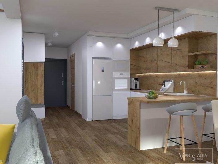 Aranżacja tego wnętrza została stworzona dla pary młodych, zapracowanych i niezwykle pozytywnych ludzi. Założeniem głównym, była duża ilość drewna, przeplatana szarością na tle śnieżnej bieli. Przestrzeń domu została wykorzystana w sposób maksymalny, każdy kąt został dobrze zagospodarowany i zaprojektowany. Wiele jest w tym projekcie, zabudów stolarskich, które stanowią bazę aranżacyjną całego wnętrza, a jednocześnie są doskonałym rozwiązaniem dla układu funkcjonalnego.